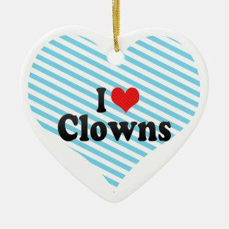 Amo a payasos adorno de cerámica en forma de corazón