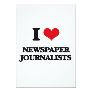Amo a periodistas del periódico invitación 12,7 x 17,8 cm