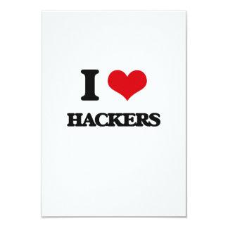 Amo a piratas informáticos invitación 8,9 x 12,7 cm