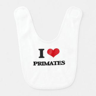 Amo a primates babero de bebé