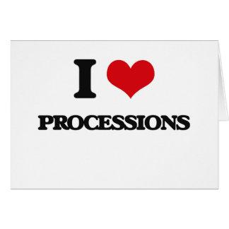 Amo a procesiones tarjeta de felicitación