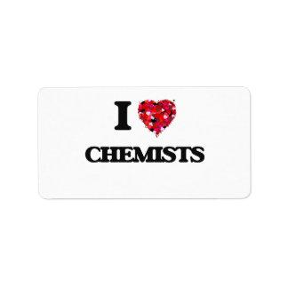 Amo a químicos etiquetas de dirección