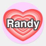 Amo a Randy. Te amo Randy. Corazón Etiqueta Redonda