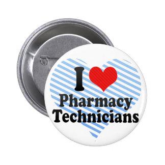 Amo a técnicos de la farmacia chapa redonda de 5 cm