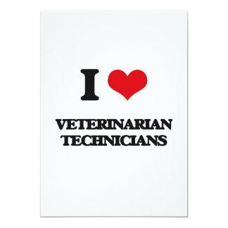 Amo a técnicos veterinarios invitación 12,7 x 17,8 cm