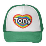 Amo a Tony. Te amo Tony. Corazón Gorras De Camionero