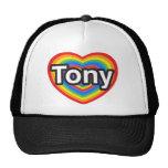 Amo a Tony. Te amo Tony. Corazón Gorros Bordados