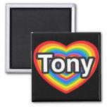 Amo a Tony. Te amo Tony. Corazón Imán Para Frigorifico