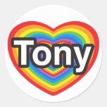 Amo a Tony. Te amo Tony. Corazón Etiquetas Redondas
