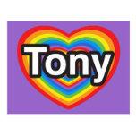 Amo a Tony. Te amo Tony. Corazón Tarjeta Postal