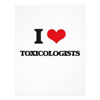 Amo a toxicólogos tarjetas publicitarias