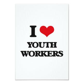 Amo a trabajadores de la juventud invitación 8,9 x 12,7 cm