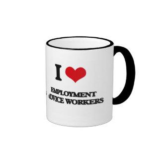 Amo a trabajadores del consejo del empleo tazas de café