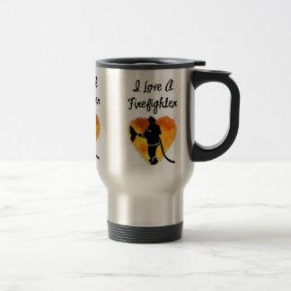 Amo a un bombero taza de viaje