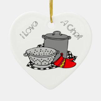 Amo a un cocinero que cocina el pote y el tamiz ornamentos para reyes magos