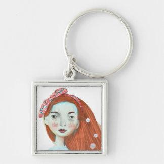 Amo al chica lindo del redhead del llavero de las