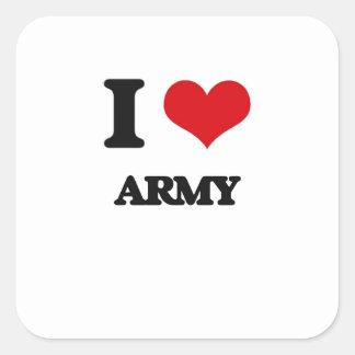 Amo al ejército pegatina cuadradas