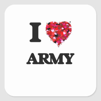 Amo al ejército pegatina cuadrada