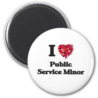 Amo al menor del servicio público imán redondo 5 cm