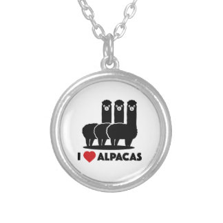 Amo alpacas collar plateado