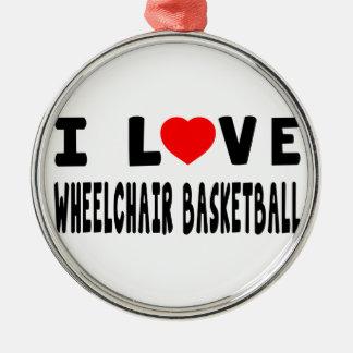 Amo baloncesto de silla de ruedas adorno de navidad
