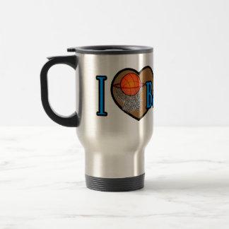 Amo baloncesto taza de viaje