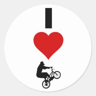 Amo BMX (vertical) Pegatina Redonda