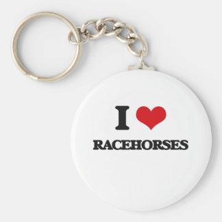 Amo caballos de carreras llavero redondo tipo chapa
