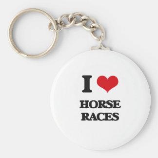 Amo carreras de caballos llavero redondo tipo chapa