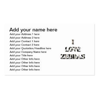 Amo cebras tarjetas de visita