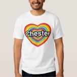 Amo Chester: corazón del arco iris Camiseta