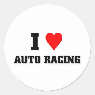 Amo competir con auto etiqueta redonda