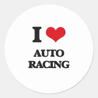 Amo competir con auto pegatinas redondas