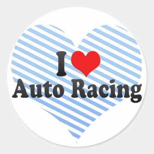 Amo competir con auto pegatina redonda