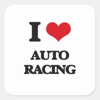 Amo competir con auto calcomanías cuadradas personalizadas