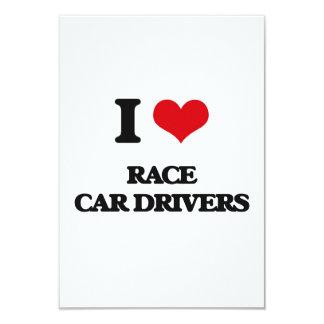 Amo conductores de coche de carreras invitación 8,9 x 12,7 cm