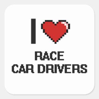 Amo conductores de coche de carreras pegatina cuadrada