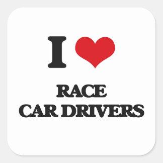 Amo conductores de coche de carreras calcomanía cuadradas personalizada