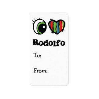 Amo (corazón) a Rodolfo Etiqueta De Dirección
