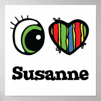 Amo (corazón) a Susana Póster