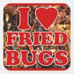 Amo (corazón) insectos fritos/insectos comestibles pegatinas cuadradas personalizadas