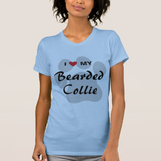 Amo (corazón) mi collie barbudo Pawprint Camiseta