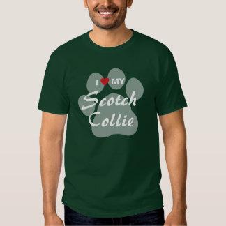 Amo (corazón) mi collie escocés Pawprint Camiseta