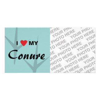 Amo corazón mi diseño de pistas del pájaro de Co Plantilla Para Tarjeta De Foto