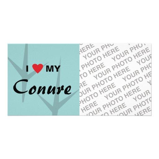 Amo (corazón) mi diseño de pistas del pájaro de Co Plantilla Para Tarjeta De Foto