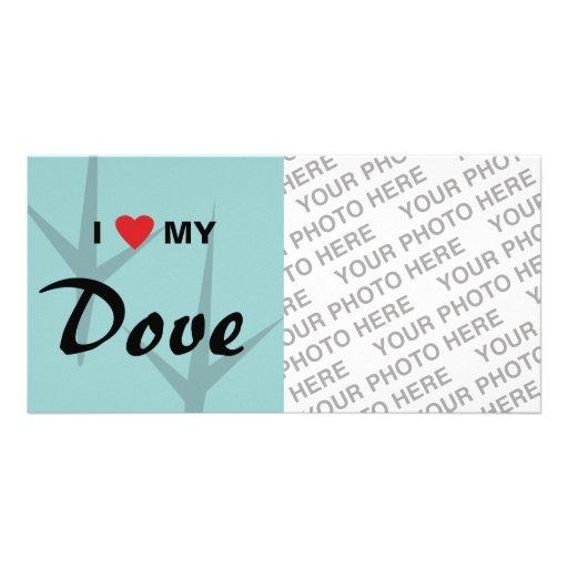 Amo (corazón) mi diseño de pistas del pájaro de la tarjeta personal