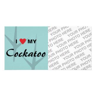 Amo corazón mi diseño de pistas del pájaro del C Tarjeta Fotográfica Personalizada