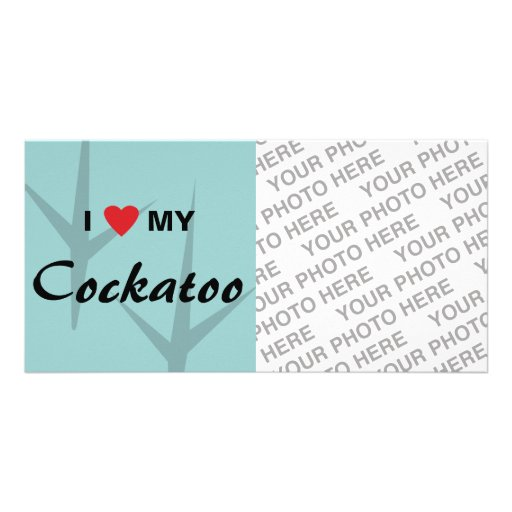 Amo (corazón) mi diseño de pistas del pájaro del C Tarjeta Fotográfica Personalizada