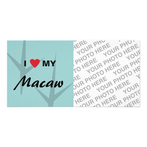 Amo (corazón) mi diseño de pistas del pájaro del M Tarjeta Fotografica Personalizada