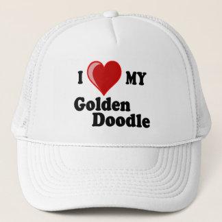 Amo (corazón) mi gorra de oro del perro del Doodle